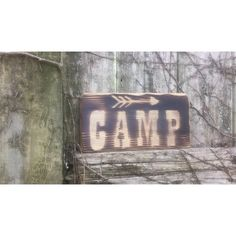 Fire-Burned Rustic Reclaimed Distressed Wood Camp Sign Salvaged Art... ($9.95) ❤ liked on Polyvore featuring home, home decor, wall art, grey, home & living, home décor, outdoor home decor, welcome sign, outdoor storage box and text signs