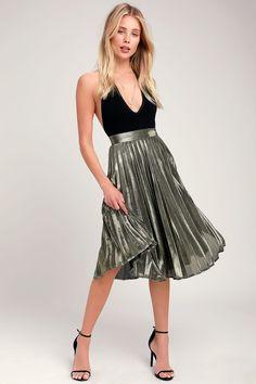 8a8637ca27 Star Shine Gold Pleated Midi Skirt Sequin Mini Skirts, Silver Skirt, Gold  Skirt,