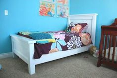 DIY plans to make your own headboard/footboard bed.  So much better quality and more affordable than what you find in the stores!
