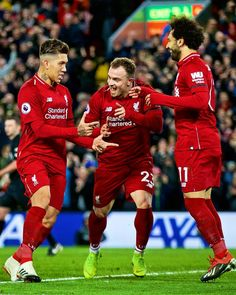 Firmino, shaqiri y Salah 💜 Liverpool Anfield, Salah Liverpool, Liverpool Football Club, Liverpool You'll Never Walk Alone, Best Club, Soccer World, Football Players, Premier League, Hero