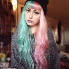 Swedish makeup artist Evelina Forsell rocked two tone turquoise and candyfloss pink in March