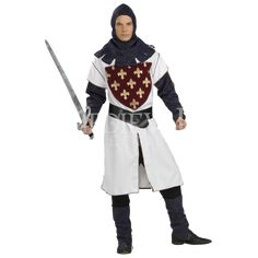 Our Deluxe Lancelot Costume is the ideal Medieval Costume for Men. For a great group or family costume idea consider our entire selection of Knight Costumes for any age group. Hood Tunic with attached sleeves Belt Boot tops Prop not included SKU: Medieval Knight Costume, Renaissance Costume, Family Costumes, Adult Costumes, Halloween Costumes, Under Armour, Noble Knight, Dark Knight Armory, Trendy Halloween