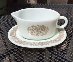 Pyrex Woodland Gravy Boat and Under Plate #77-B
