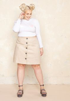 A-Line Button Up Skirt  £42.00  Plus Size Fashion ♥ | One One Three | Sizes 18-26