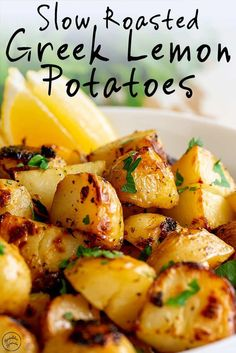 These Authentic Slow Roasted Greek Lemon Potatoes make the perfect side dish to so many meals! Serve them with roast chicken or beef as part of Sunday dinner, or add them to a baked fish or shrimp recipe. The potatoes are cooked in a mixture of broth, ext Greek Roasted Potatoes, Greek Lemon Potatoes, Greek Roasted Chicken, Greek Chicken And Potatoes, Sides For Chicken, Roasted Potato Salads, Garlic Roasted Potatoes, Greek Vegetables, Veggies