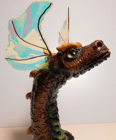 Crooked Horn  Bronze dragon head sculpture by ClimbingDragon, $65.00