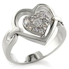 Heart Silver Cocktail Ring Cubic Zirconia Pave Set Plus Size 9 10 USA Seller #Cocktail