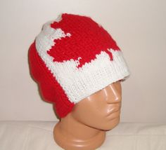 Canadian Flag Hand Knit Hat for Men's  Red White  by earflaphats, $45.00