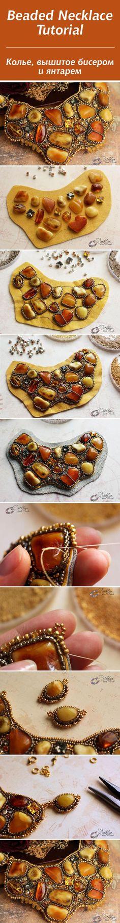 Beaded amber necklace tutorial / Мастер-класс: вышиваем бисером янтарное колье «медовые леденцы»