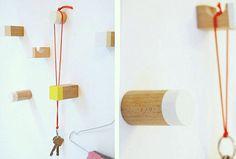 Building block wall hooks