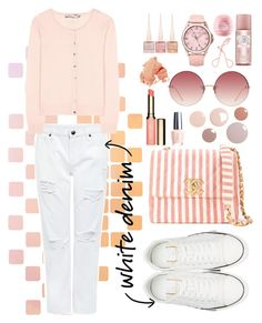 """White denim"" by tiana212 ❤ liked on Polyvore featuring Valentino, Chanel, Linda Farrow, SO & CO, Bobbi Brown Cosmetics, Christian Louboutin, Eos, Clarins, Edit and 81hours"