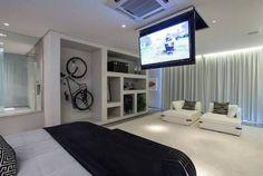 tv embutida no teto em gesso