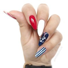 Anchor Nail Art Designs shape of your nail is very important to the styles you select. Navy Nails, Us Nails, White Nails, Anchor Nail Art, Nailart, Beach Nails, Cute Acrylic Nails, Super Nails, Nagel Gel