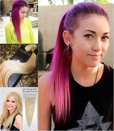 fashion ombre colored hair style with pink hair extensions for short hair