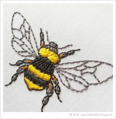 Crewel Embroidery BEE - ABELHA - BORDADO - This instructable will teach you the very basics of hand embroidery. Learning to embroider is not as tough as you might think! With a bit of practice, you'll get . Crewel Embroidery, Learn Embroidery, Hand Embroidery Stitches, Silk Ribbon Embroidery, Hand Embroidery Designs, Embroidery Techniques, Cross Stitch Embroidery, Machine Embroidery, Embroidery Ideas