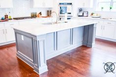 Want to Upgrade Your Kitchen Island? This is a super quick, inexpensive, easy weekend project, that provides a lot of character to an otherwise basic kitchen island by adding picture frame molding. Kitchen Island Molding, Kitchen Island Upgrade, Kitchen Island Makeover, Kitchen Island With Sink, Kitchen Island Decor, Modern Kitchen Island, Basic Kitchen, Kitchen Cabinet Colors, How To Build Kitchen Island