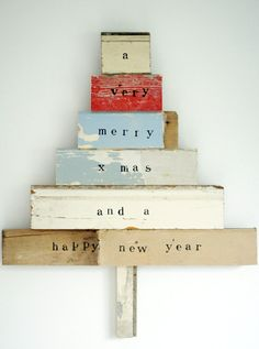 wood christmas tree or could do it with book spines I would put Christmas rather than xmas Wood Christmas Tree, Noel Christmas, Little Christmas, All Things Christmas, Winter Christmas, Vintage Christmas, Christmas Decorations, Xmas Tree, Christmas Blocks
