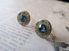 40 Caliber Dark Steel Blue Crystal Bullet Earrings, $15.00