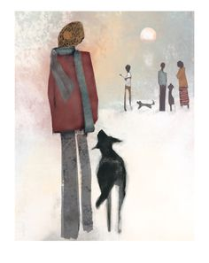 'You've got this?' by Meg Anderson of Hangdog Art. Giclee print on fine art paper. Dog portrait with woman and dog. Various sizes available. Dog Beach, Beach Print, Dog Portraits, Whimsical Art, Dog Art, Fine Art Paper, Giclee Print, Fine Art Prints, Woman
