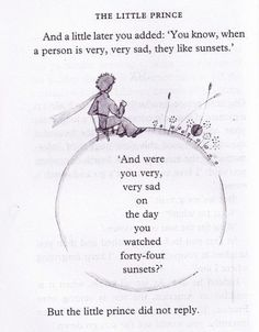 """You know, when a person is very, very sad, they like sunsets""  -The Little Prince"