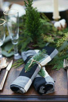 Buffalo check napkins, winter tablescape