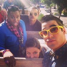 Alex Newell, Jacob Artist, Melissa Benoist, and Darren Criss