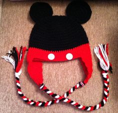 Mickey Mouse hat with ear flaps crocheted by DaniellesCrocheting 8037f031c2f