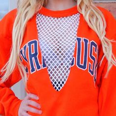 Staying cozy in lo + jo mesh🍊💙 College Game Days, Diy Fashion, Fashion Trends, Diy Shirt, Diy Clothes, Trending Fashion, Photo And Video, Ladder, Liberty