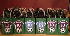 Soccer Goody Bags I made for Lucas' 4th Grade Classmates. Purple Jerseys for the girls and Blue Jerseys for the boys, with their name and the #10 in honor of his 10th Birthday, and of course, a soccer ball. Lucas' 10th Birthday 2014