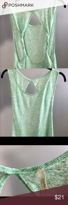 October Sky Open Back Tank Mint green twisted open back tank. Never worn. october sky Tops Tank Tops