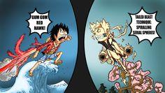 Luffy usando el Red Hawk VS Naruto!!