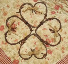 Barbed wire Heart Wreath 10 x 10 inches love country primitive wall decor.  For valentine's day!