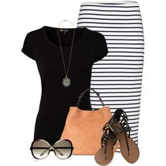 """Black T and pencil skirt"" by mommygerloff on Polyvore"