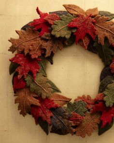 Cute Felted Wool Fall Wreath
