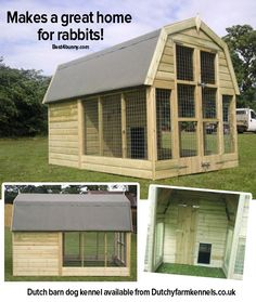 Dutch barn dog kennels are great for rabbits too!  The roof really protects them from the weather,  they have a cosy bedroom area too.  Find out more on this website http://www.duchyfarmkennels.co.uk