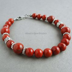 Jaspe rouge Pierre Mens Bracelet bijoux de par mamisgemstudio