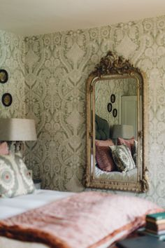 Beautiful Antique Mirror and Botanical Wallpaper at Battel Hall, Kent.