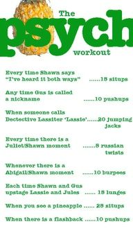 """Psych"" TV show workout: Welp. I'll be doing this for all of break."