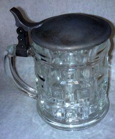 Bavarian Glass Stein with Pewter Lid Cut Glass Heavy Crystal 4L Original 1960'S | eBay