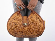 50s Vintage Mexican Tan Leather Tooled Handbag by stellahsgroove, $90.00