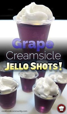 Grape Creamsicle Jello Shots - Grape flavored jello is arguably better than orange! Holiday Drinks, Fun Drinks, Yummy Drinks, Alcoholic Drinks, Mixed Drinks, Christmas Drinks, Jello Shot Recipes, Alcohol Drink Recipes, Grape Jello Recipes
