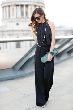 BACKLESS BLACK JUMPSUIT WITH CHANEL ACCESSORIES