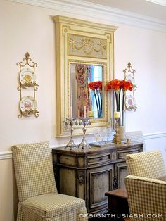 After one month in our new house, it's time for the first room reveal ~ a rosy dining room. The room utilizes several elements to impart casual elegance and a warm glow, the perfect combination to make dinner guests feel welcome | Designthusiasm.com #frenchcountry #homedecor