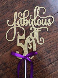 Fabulous at 50 birthday - Glitter gold - 50th Birthday - Cake Topper #1002
