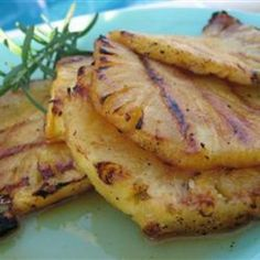 Grilled Pineapple: 1/4 tsp honey, 3 Tbsp melted butter, 1 dash hot pepper sauce. Marinate pineapple at least 30 min. Grill