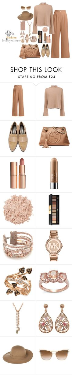 """""""Nice Nudes"""" by christinemusal ❤ liked on Polyvore featuring TIBI, Proenza Schouler, 3.1 Phillip Lim, Gucci, Charlotte Tilbury, Clinique, La Mer, Yves Saint Laurent, Chan Luu and Michael Kors"""