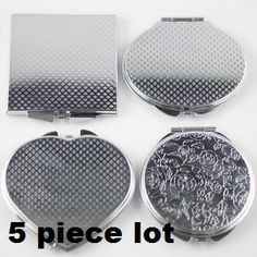 5 piece lot Shaped textured dual mirror metal compact great for diy Compact Mirror, Beauty Essentials, Craft Projects, Craft Ideas, Craft Supplies, Shapes, Mirrors, Gifts, Diy
