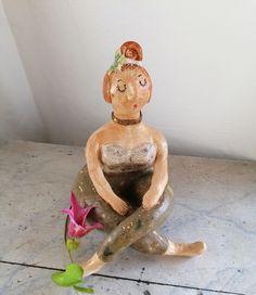 Keramikfigur Yoga Meditation Yogafigur Gartenkeramik Gartendeko handmade Keramikskulptur