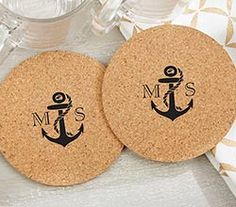 Nautical Wedding Favors Ideas - Personalized Round Cork Coasters - Nautical (Set of 12)