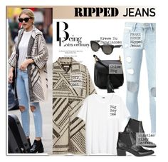 """""""Ripped Jeans: Gigi Hadid"""" by junglover ❤ liked on Polyvore featuring Tory Burch, Frame Denim, Krewe and Chloé"""